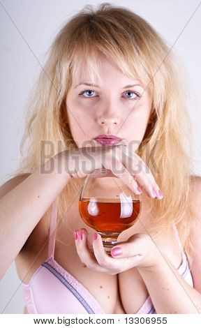 Girl with cognac