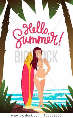The girl - the surfer holding a surfboard. Vector illustration. Beautiful summer background with palm trees the sea and the beach. The inscription