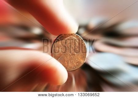 Penny Zoom Burst Close Up Stock Photo High Quality