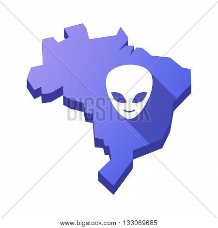 Illustration Of An Isolated Brazil Map With An Alien Face