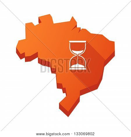 Illustration Of An Isolated Brazil Map With A Sand Clock