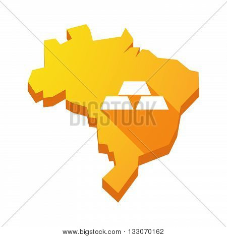 Illustration Of An Isolated Brazil Map With Three Gold Bullions