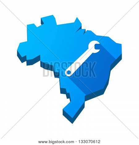 Illustration Of An Isolated Brazil Map With A Spanner