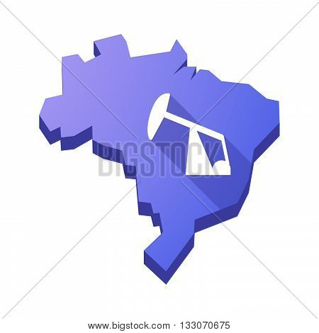 Illustration Of An Isolated Brazil Map With A Horsehead Pump