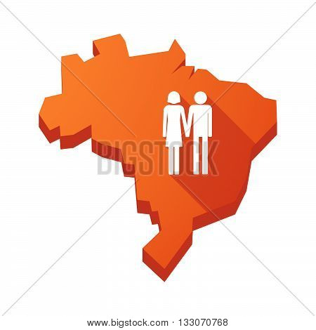 Illustration Of An Isolated Brazil Map With A Heterosexual Couple Pictogram