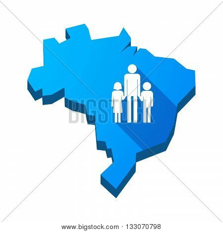 Illustration Of An Isolated Brazil Map With A Male Single Parent Family Pictogram