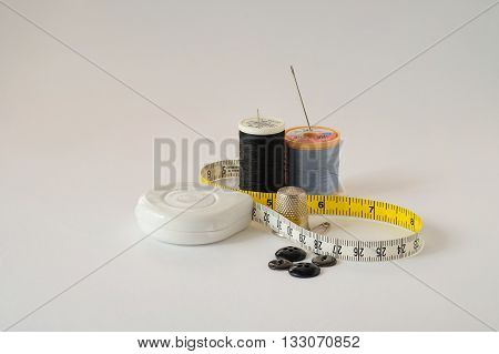 Collection of sewing kit on white background