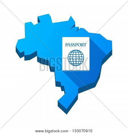 Illustration Of An Isolated Brazil Map With  A Passport