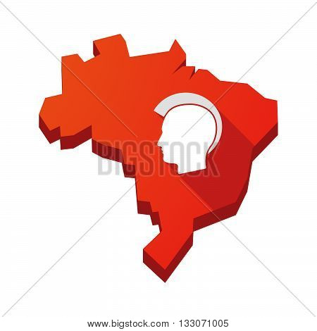 Illustration Of An Isolated Brazil Map With  A Male Punk Head Silhouette