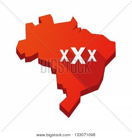 Illustration Of An Isolated Brazil Map With  A Xxx Letter Icon