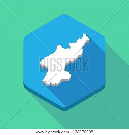 Long Shadow Hexagon Icon With  The Map Of North Korea