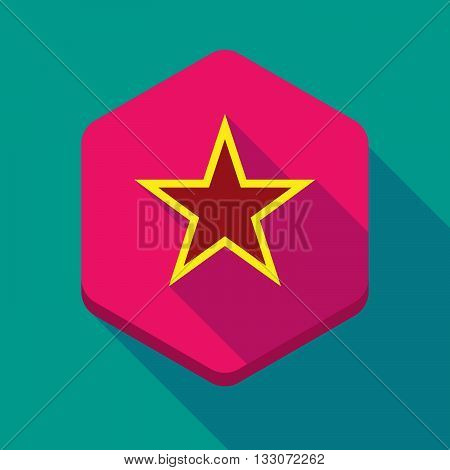 Long Shadow Hexagon Icon With  The Red Star Of Communism Icon