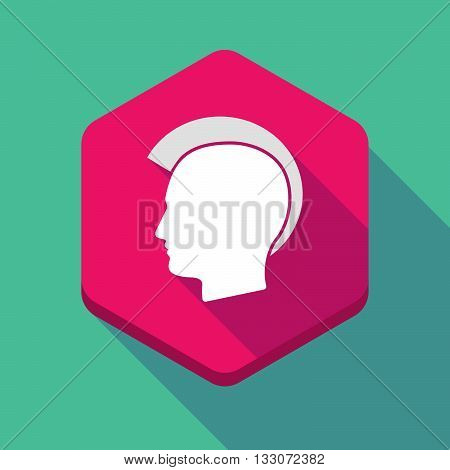 Long Shadow Hexagon Icon With  A Male Punk Head Silhouette