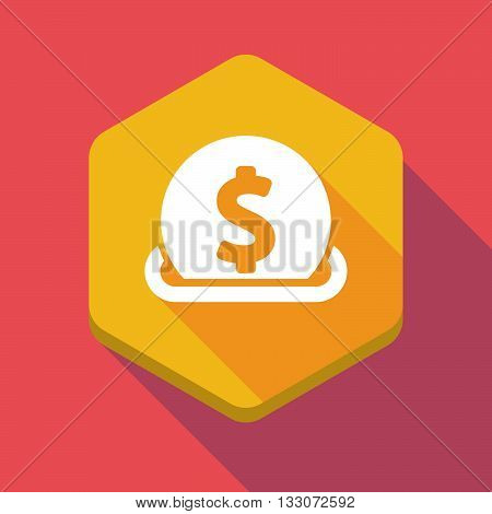 Long Shadow Hexagon Icon With  A Dollar Coin Entering In A Moneybox