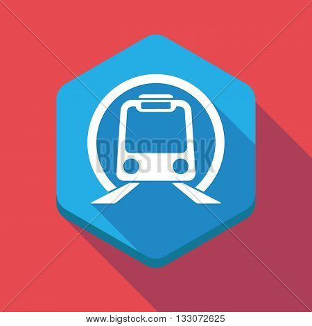 Long Shadow Hexagon Icon With  A Subway Train Icon