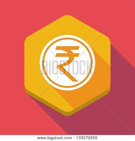 Long Shadow Hexagon Icon With  A Rupee Coin Icon