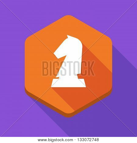Long Shadow Hexagon Icon With A  Knight   Chess Figure