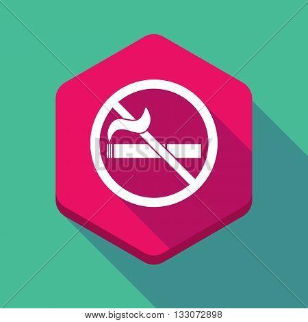 Long Shadow Hexagon Icon With  A No Smoking Sign