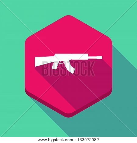 Long Shadow Hexagon Icon With  A Machine Gun Sign