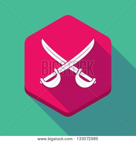 Long Shadow Hexagon Icon With  Two Swords Crossed