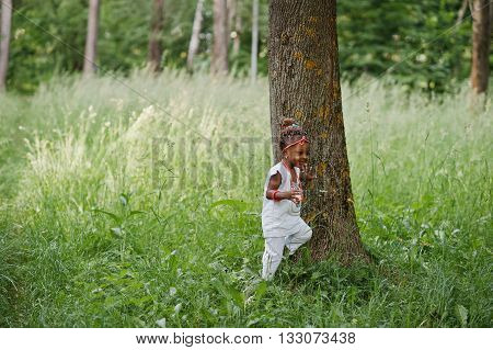 African Baby Girl Walking At Park