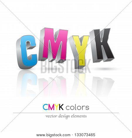 CMYK 3d letters symbol set. Vector illustration