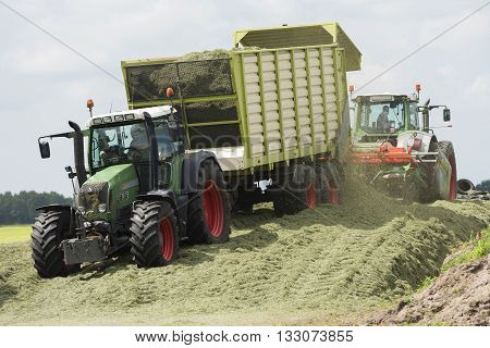 silage with two tractors in the summer