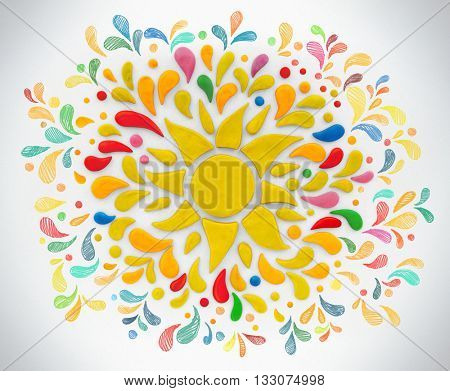 Decorative sun and with hand drawn rays on a white background. Plasticine illustration
