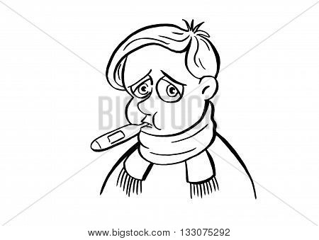 Sick child. Sick boy with a thermometer in his mouth. The boy related the throat warm scarf. In the mouth the thermometer. The boy became ill, he was sad
