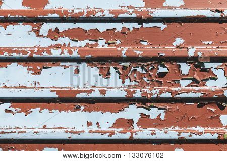 Old Metal Wall With Peeling Paint Layers