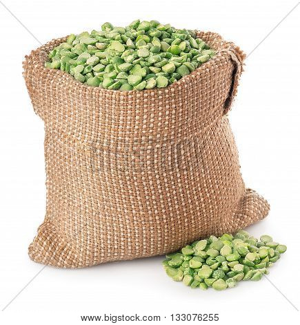 Beans in burlap sack with heap isolated on white background. Split peas in burlap bag