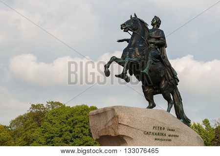 SAINT-PETERSBURG, RUSSIA - MAY 22: Monument to Peter the Great on Senate Square in St. Petersburg.