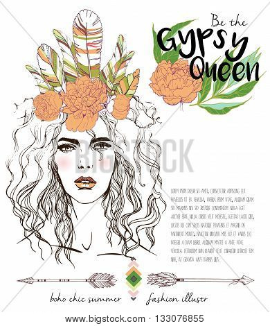 Vector fashion illustration of bohemian woman with headpiece of feathers and peonies. Decorated with traditional boho geometry and arrows. Gypsy Queen.
