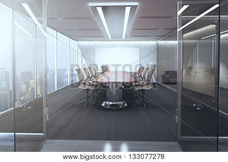 Open glass door revealing modern meeting room interior with ceiling lamps blank whiteboard on brick wall wooden floor and panoramic window with city view. 3D Rendering