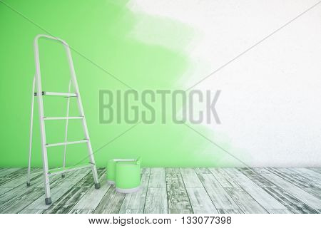 Room interior with unfinished green wall paint buckets ladder and wooden floor. Mock up 3D Rendering