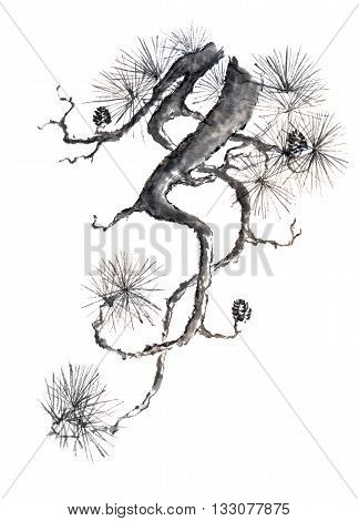 Japanese style original sumi-e pine branch ink painting. Great for greeting cards or texture design.