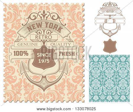 Retro stamp, Nautical design