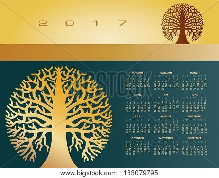 2017 Creative round tree calendar for print or web