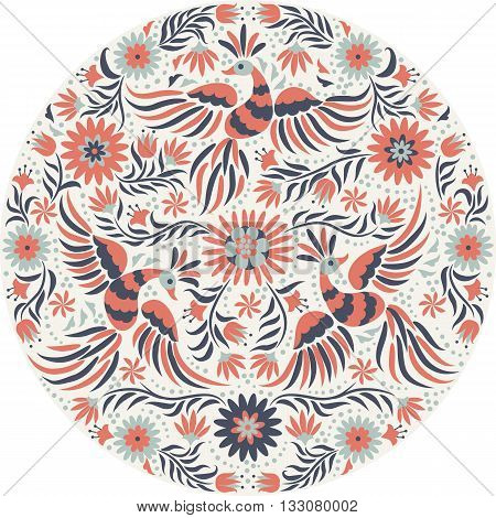 Mexican embroidery round pattern. Red and back ornate ethnic pattern. Birds and flowers light background. Floral background with bright ethnic ornament.