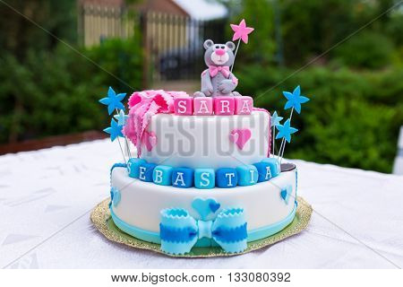 Birthday cake for baby boy and girl twins with names