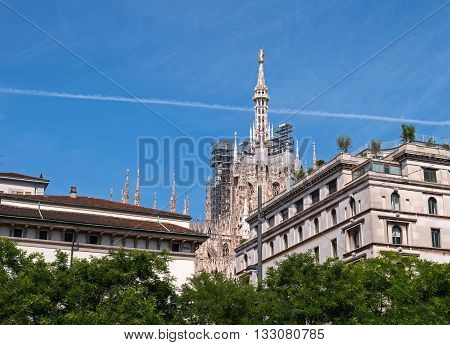 Milan Italy - May 25 2016: The spiers of the Duomo. Milan Italy. View from the Piazza Fontana.