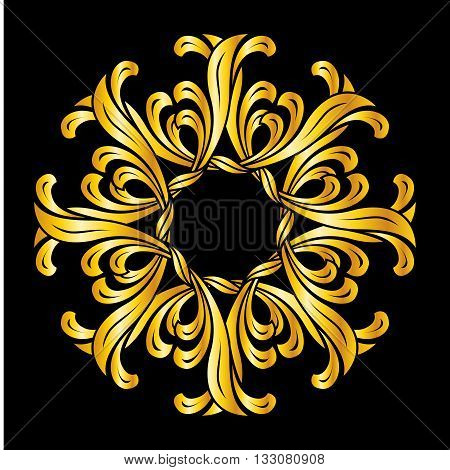 Abstract florid pattern in golden colors on black background
