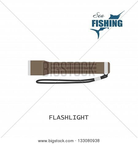 The flashlight. Item of fishing. Vector illustration