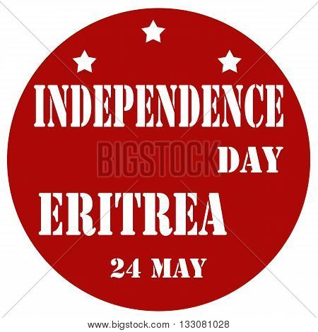 Red label with text Independence Day Eritrea,vector illustration