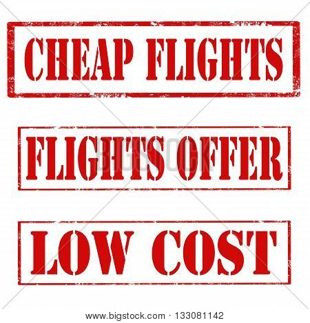 Set of stamps with text Cheap  Flights,Flights Offer and Low Cost,vector illustration