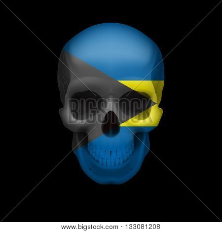 Human skull with flag of Bahamas. Threat to national security war or dying out