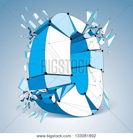 3d vector low poly zero number with black connected lines and dots geometric wireframe font with broken fragments. Perspective shattered digit with thread.