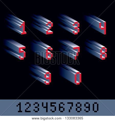 Vector modern tech whole numbers set. Geometric pixilated digits 3d dotted 8 bit numeration from 0 to 9.
