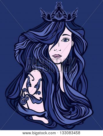 beautiful queen with long gorgeous hair - shades of blue art nouveau style vector design