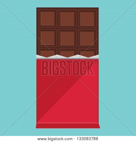 Vector illustration dark chocolater bar. Opened chocolate. Chocolate bar flat icon on blue background